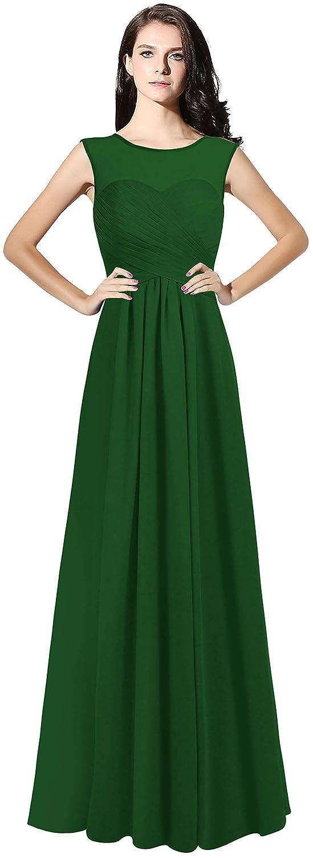 Dark Green CladiyaDress Women Illussion Neck Long Bridesmaid Dress Evening Gowns C068LF