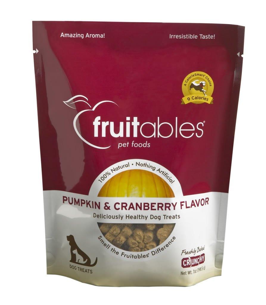 Fruitables Pumpkin & Cranberry Crunchy Dog Treats, 7oz Pouch (Pack of 12)