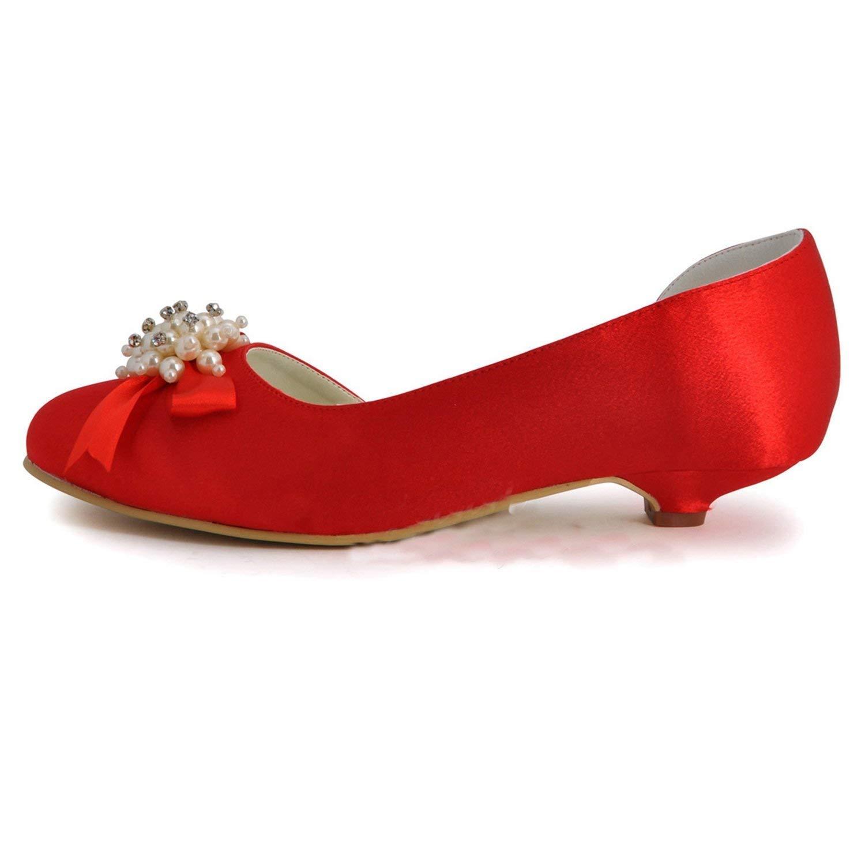 Qiusa damen Kitten Heel Satin Hochzeit Abend Abend Abend Prom Pumps Schuhe (Farbe   rot-3cm Heel, Größe   7.5 UK) d95a46