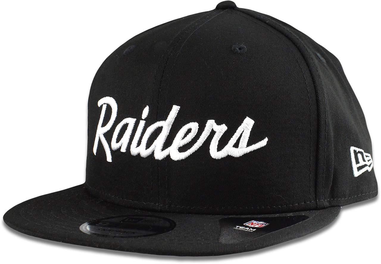 online retailer 1e789 ca8c7 New Era Oakland Raiders Hat NFL Black White Script 9FIFTY Snapback  Adjustable Cap Adult One Size