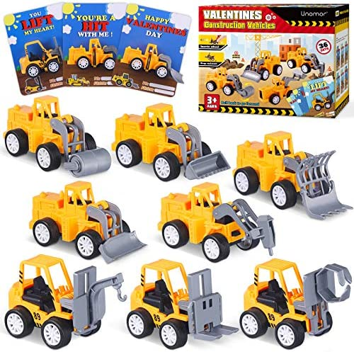 Unomor 36 Pack Valentines Day Cards for Kids 36 Pack Pull Back Construction Vehicle Toys and 36 Valentine Cards for Kids Classroom Exchange Party Favors (3.5''x1.5'')