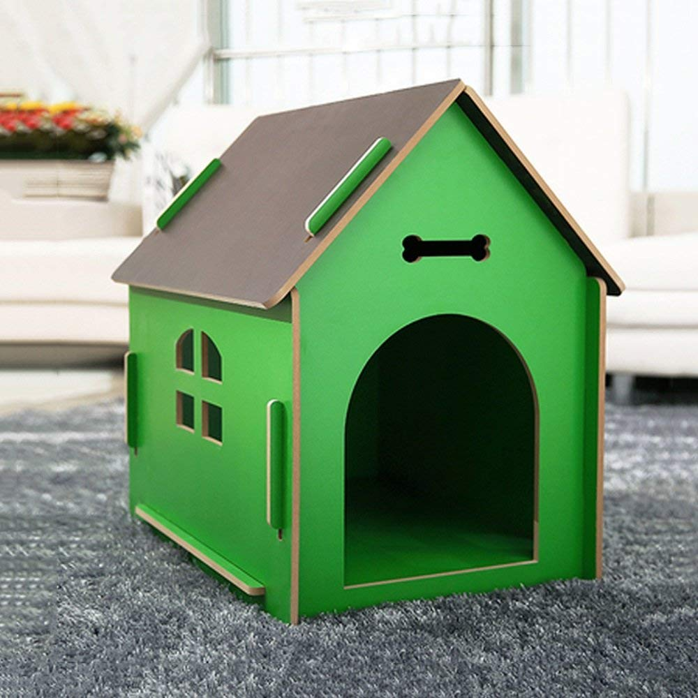 Green Large Green Large HeiPlaine Pet Sofa Indoor Outdoor Pet House Solid Wood Kennel Villa Animal Housing Upscale Cat Nest Fossa Waterproof (color   Green, Size   Large)
