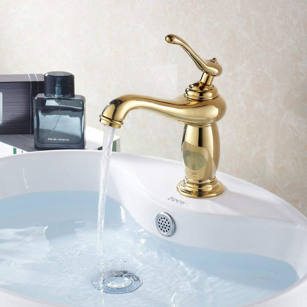 Oudan The washbasin leading European golden cold and hot water faucet