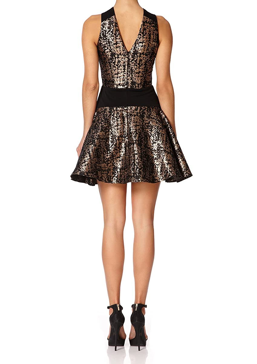 Forever unique sidney black and gold metallic jacquard skater dress  clothing jpg 849x1200 Black and gold d99fd445d