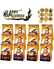 12 stuks papieren zakjes voor Halloween, Halloween snoepzakjes met Stickers, Pompoen Kraft Papier Snoepzak, voor Gebruikte Halloween Party Om Je Snoepjes, Trick of Treat Papier Tassen