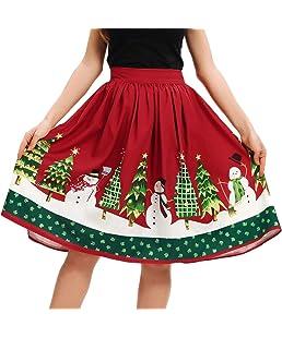 Jupe Femme Femmes Occasionnels NoëL Santa Flare éLastique Haute Taille Cosplay Jupe Robe De Bal