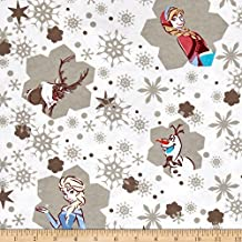 Disney Flannel Frozen Snowflakes White Fabric By The Yard