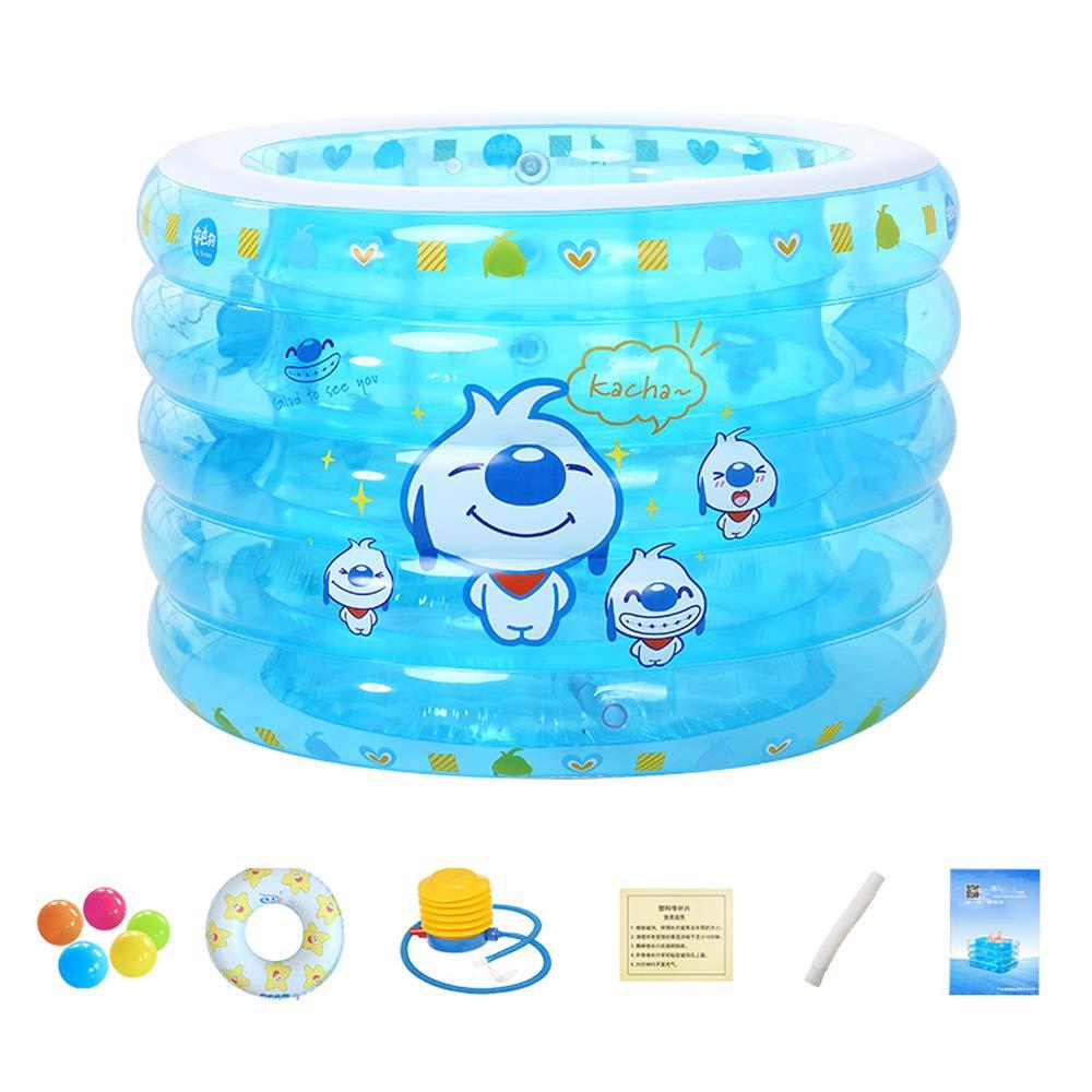 ZDYG Baby-Swimmingpool, aufblasbarer Familien-Planschbecken für Kinder und Erwachsene, Kristallblauer 4-Ring-aufblasbarer Planschbecken-110x75cm Paket 1 110x75cm