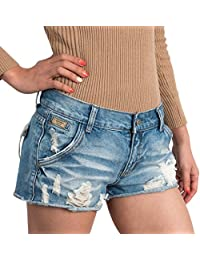 Women Vintage Distressed Light Washed Cotton Jean Pants Denim Shorts