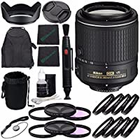 Nikon AF-S DX NIKKOR 55-200mm f/4-5.6G ED VR II Lens + 52mm 3 Piece Filter Set (UV, CPL, FL) + 52mm +1 +2 +4 +10 Close-Up Macro Filter Set with Pouch + Lens Cap + Lens Hood + Lens Cleaning Pen Bundle