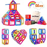 Soyee Magnetic Blocks STEM Educational Toys Learning Construction Magnetic Building Blocks Tiles Set for 3,4 and 5+ Year Old Boys & Girls Creative Fun Kit Magnet Toys Gift for Kids 56pcs