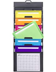 Smead Cascading Vertical Wall Organizer, 6 Pockets, Poly, Gray with Bright Color Pockets (92060)