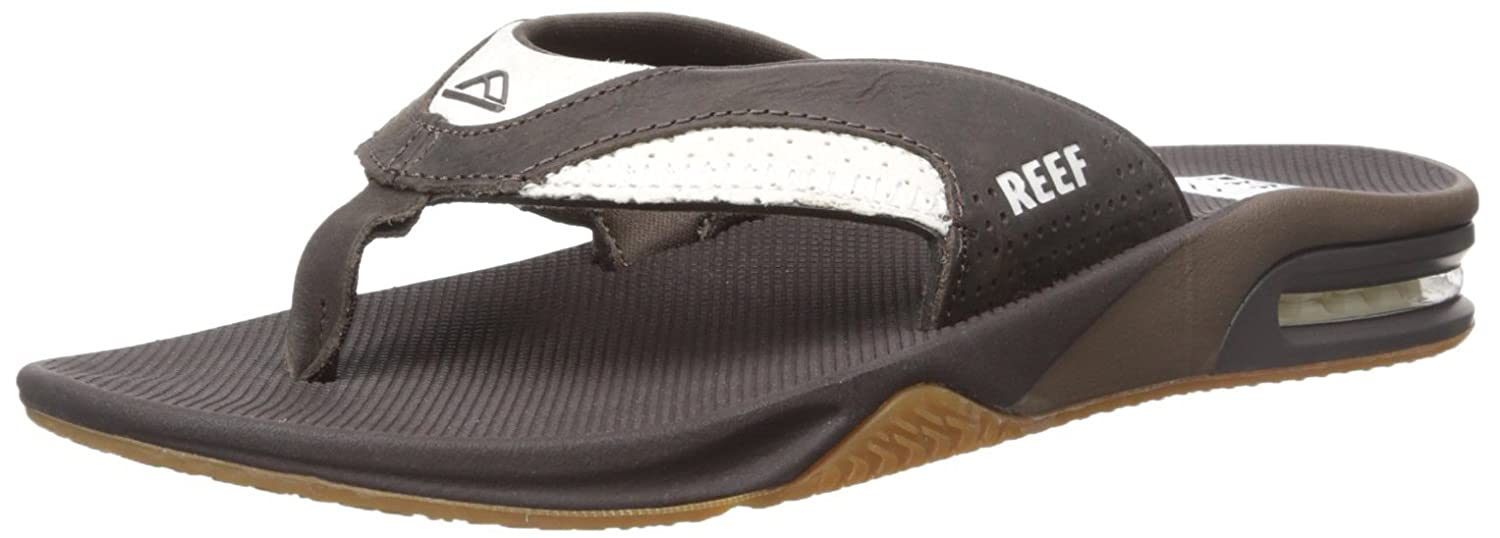 Reef Leather Fanning, Chanclas para Hombre 40 EU|Multicolor (White / Brown)