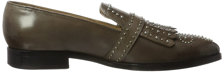 MELVIN & Schuhe HAMILTON MH HAND MADE Schuhe & OF CLASS Damen Jessy 26 Slipper Grau (Crust Stone + Rivets And Buckle Nickel) 7d579f