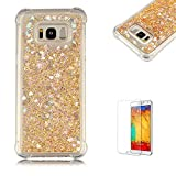 Funyye Liquid Quicksand Case for Samsung Galaxy S8 Plus,Sparkly Flowing Glitter Diamond Gold Love Hearts TPU Case for Samsung Galaxy S8 Plus,Slim Soft Rubber Flexible Clear Protective Silicone Case for Samsung Galaxy S8 Plus + 1 x Free Screen Protector