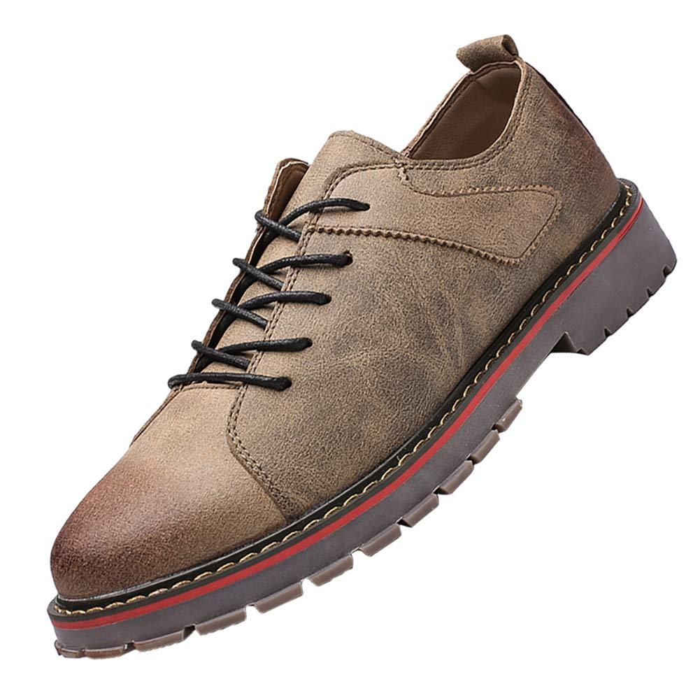 Khaki US 8=26.0cm KUIBU Men's LowCut Work Boots Lace up AntiSlip Waterproof Hiking Martin Boots Dress Casual Oxford shoes