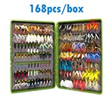 Fullfilled by Amazon Double Side Waterproof Pocketed Fly Box + Assorted Dry Flies Fishing Lure Pack of 168 Fly Lure Christmas Birthday Gifts for Women Men Kids