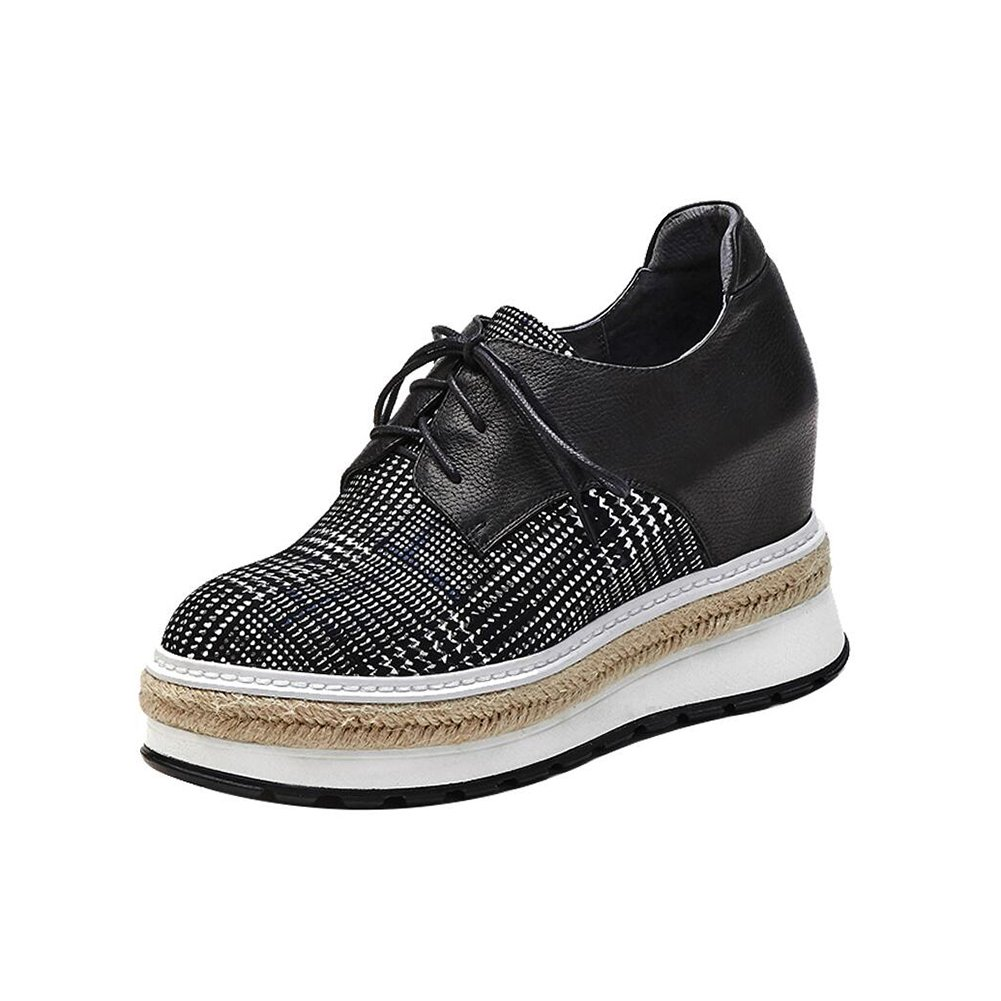 CJC Schuhe Dicke Freizeitschuhe Runde Kopf Mode Schuhe (Farbe   schwarz, Größe   EU39 UK6)