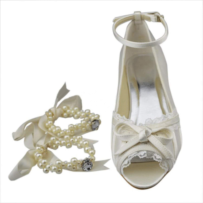 Qiusa Mädchen Knöchelriemen Knoten Satin Spitze Rand Braut Hochzeit Hochzeit Hochzeit Sandalen (Farbe   Ivory-5cm Heel Größe   6.5 UK) fc27c6
