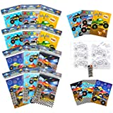 TINYMILLS Monster Truck Coloring Book Set with 12 Coloring Books and 48 Crayons Monster Truck Birthday Party Supplies Favor B