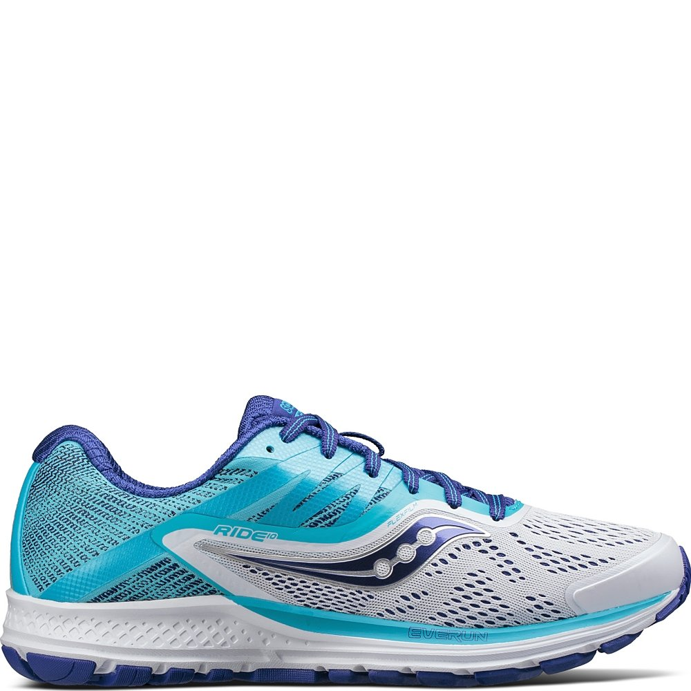 Saucony Women's Ride 10 Running-Shoes B01NCOVJG5 11 N US|White | Blue