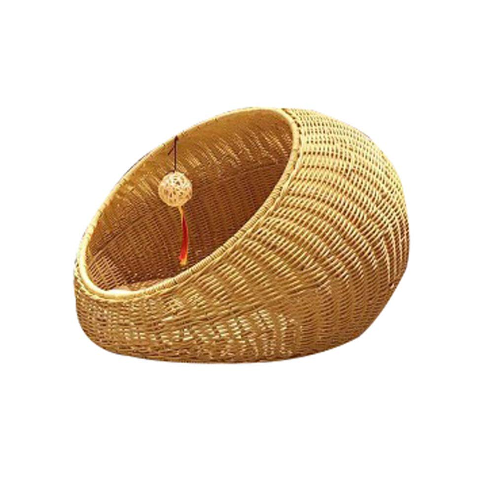 Beige GYR28656 Soft and comfortable Round Cat toilet rattan Cat's home cat bed dog house cat climbing frame washable belt pad Pet cat dog cave (color   Beige)