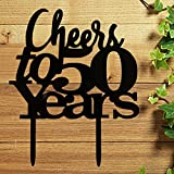 Cheers to 50 years Cake Topper 50th Birthday,Wedding Anniversary Friendship Party Decorations Black Pertlife