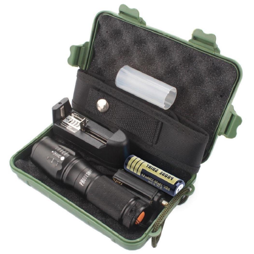 Koly Linterna táctica Policía zoomable X800 XML T6 LED + 18650 + cargador + Caso product