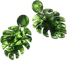 Leono Christmas Leaf multi-layer earrings green Stud earrings for women 1Pair