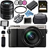 Panasonic Lumix DC-GX9 Mirrorless Micro Four Thirds Digital Camera with 12-60mm Lens (Silver) + Panasonic Lumix G Vario 45-150mm f/4-5.6 ASPH. MEGA O.I.S. Lens Bundle