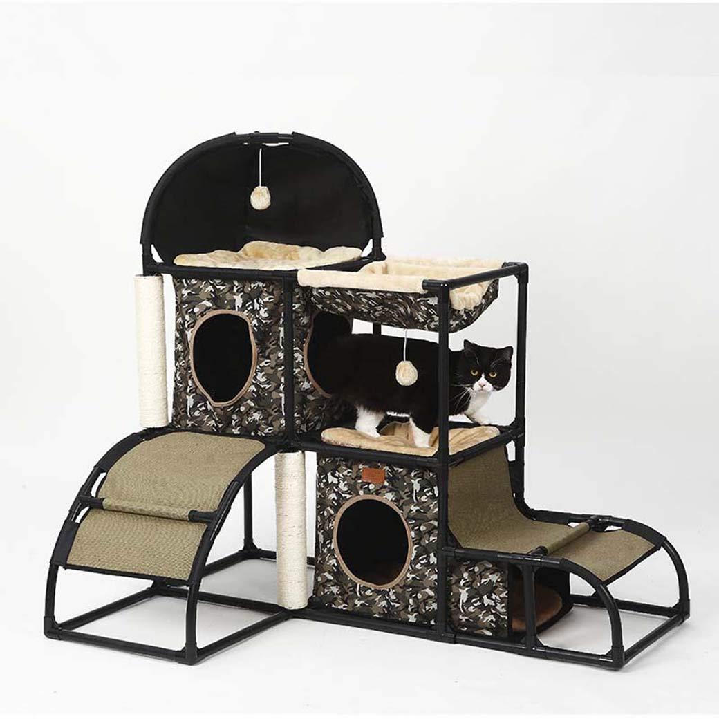 Black Cat Climbing Frame with Toy Balls,Detachable Combination Cat Kennels,Versatile Cat Tree Scratcher Activity Centre