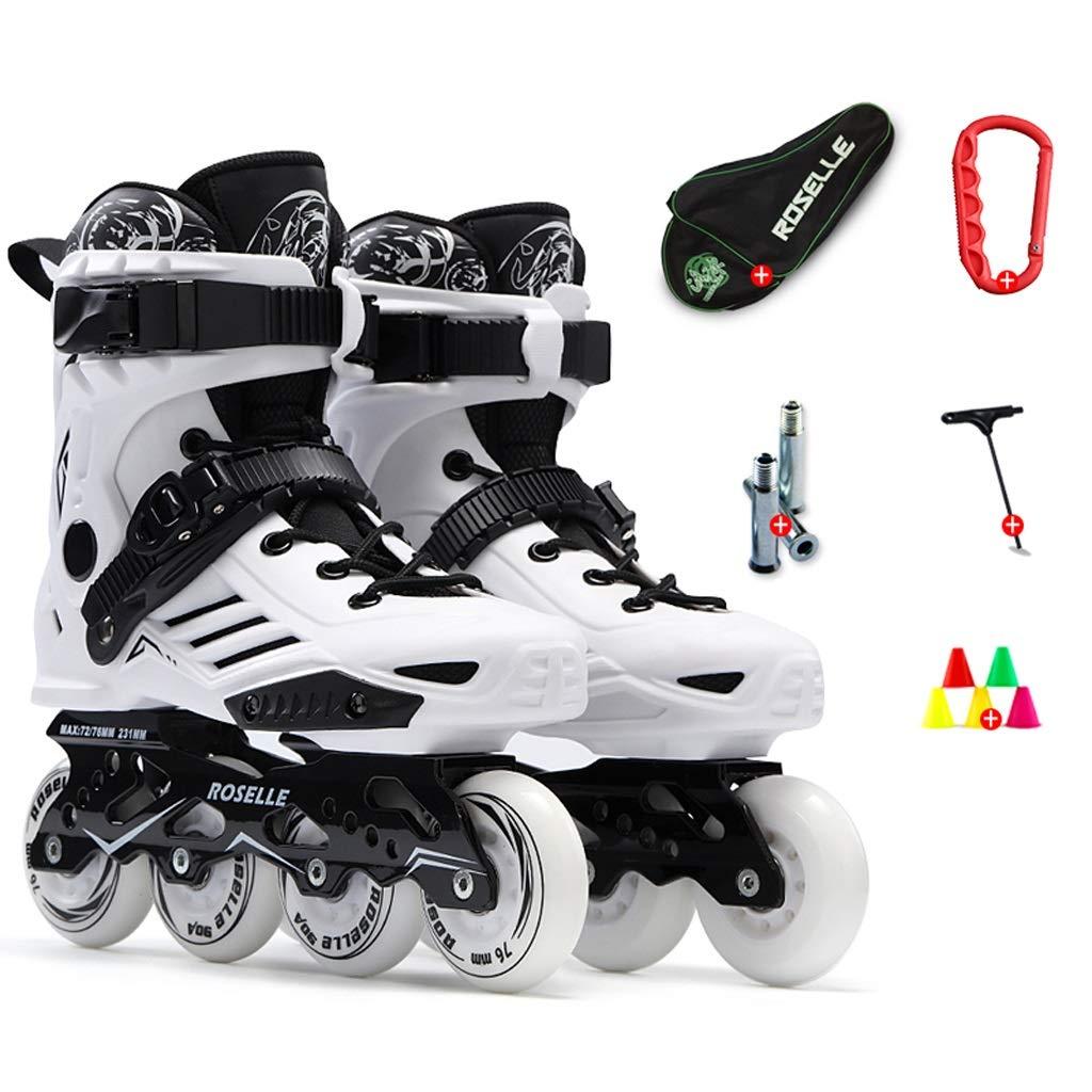XZ15 学生インラインスケートスケート、少年少女のためのファッションスケート、快適な通気性スケート、35-46ヤード (Color : 白い, Size : EU 38/US 6/UK 5/JP 24cm) 白い EU 38/US 6/UK 5/JP 24cm