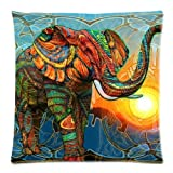 Vanki Aztec Elephant Cotton Linen Square Decorative Pillow Case Protector 18x18 Inch