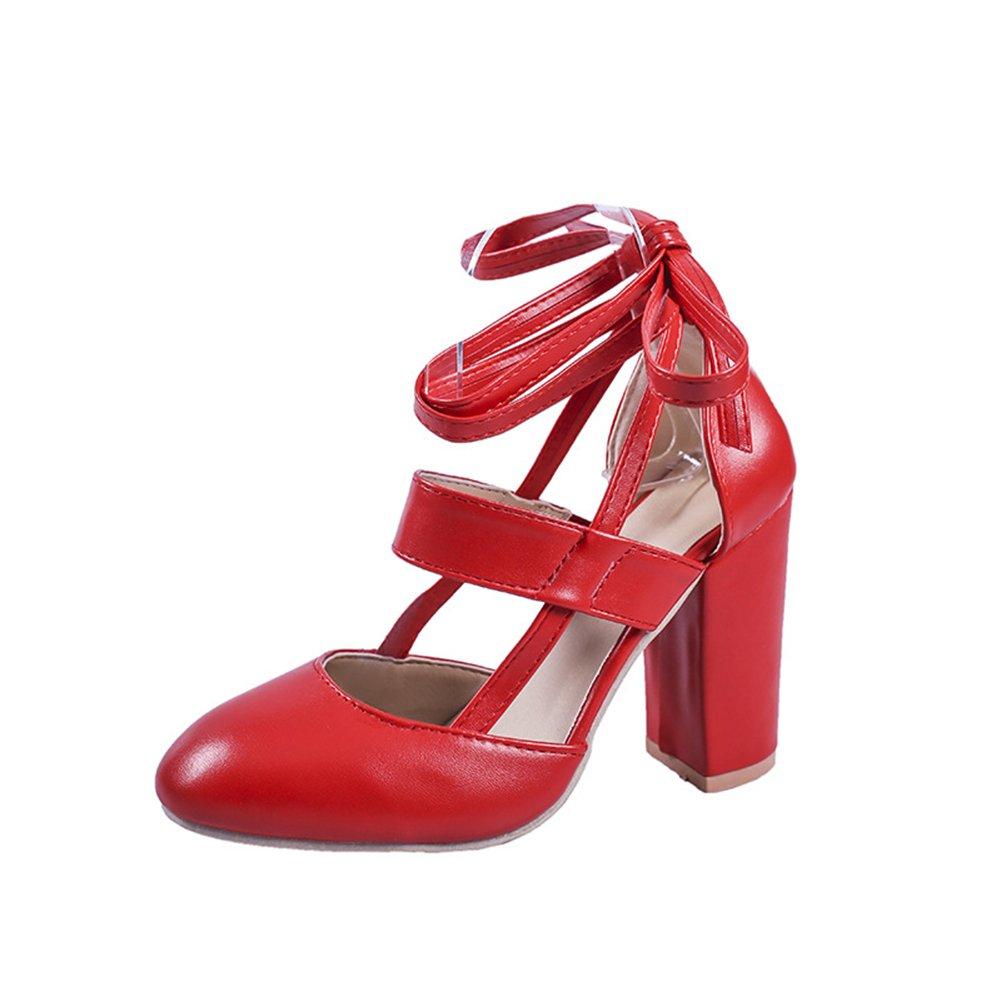 Zapatos de Mujer 2018 Nuevo Verano de Tacón Grueso con Zapatos de Gran Tamaño Sandalias de PU Artificiales Mujeres de Gran Tamaño Sandalias de Tacón Grueso (Color : Rojo, Tamaño : 42) 42|Rojo