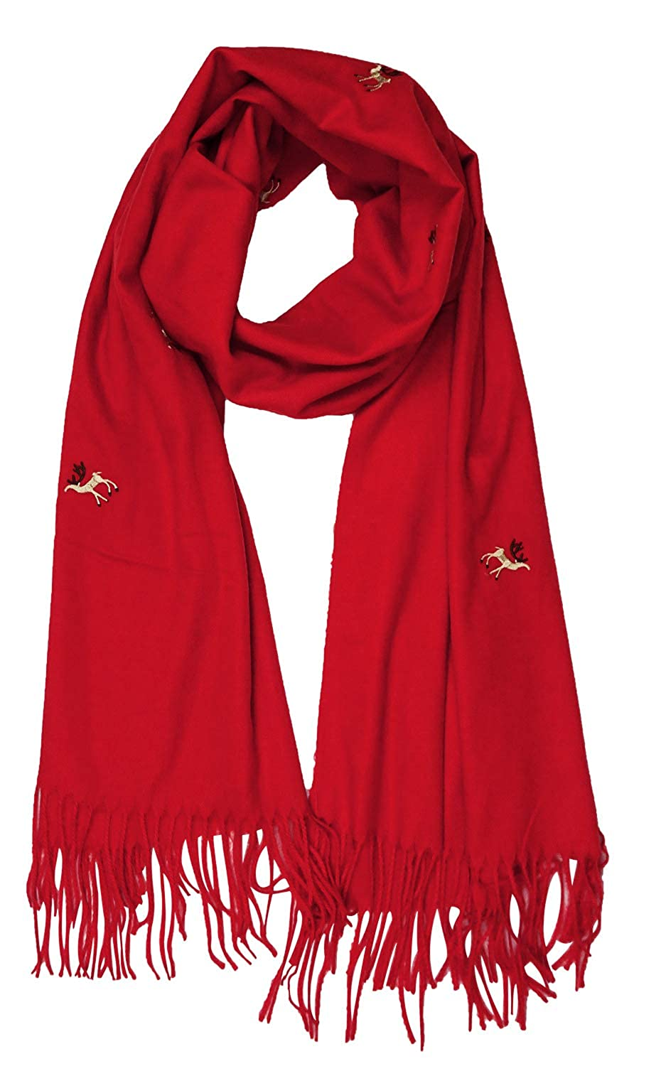 Deer Style_red Women Solid Soft Cashmere Feel Shawl Wrap Scarf