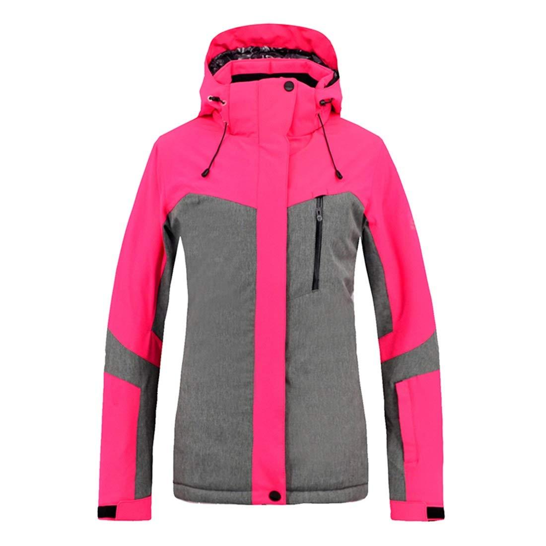 女性のスキージャケット防水 女性の防水スキージャケット暖かい冬の雪のコートマウンテンウインドブレーカークラシックウインドブレーカーフード付きレインコート レディース冬の雪のジャケットレインコート (色 : ピンク, サイズ : M) ピンク Medium