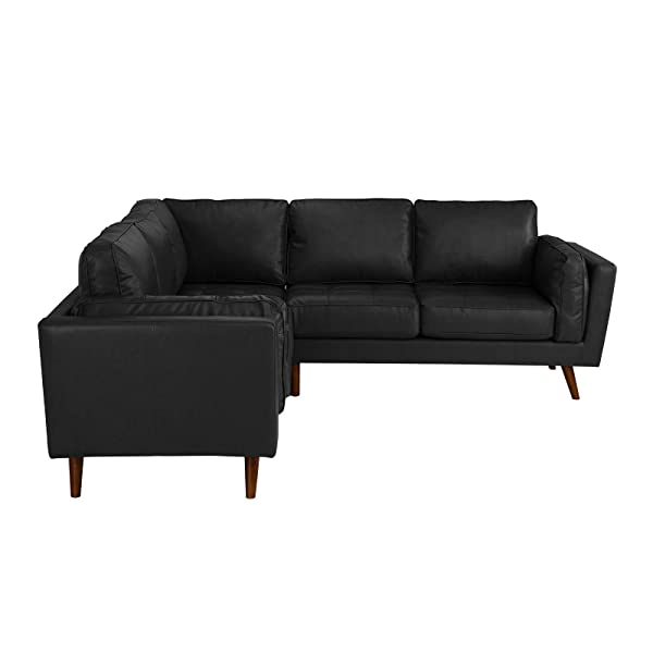Divano Roma Furniture - Mid Century Modern Tufted Real Leather Sectional Sofa (Black)