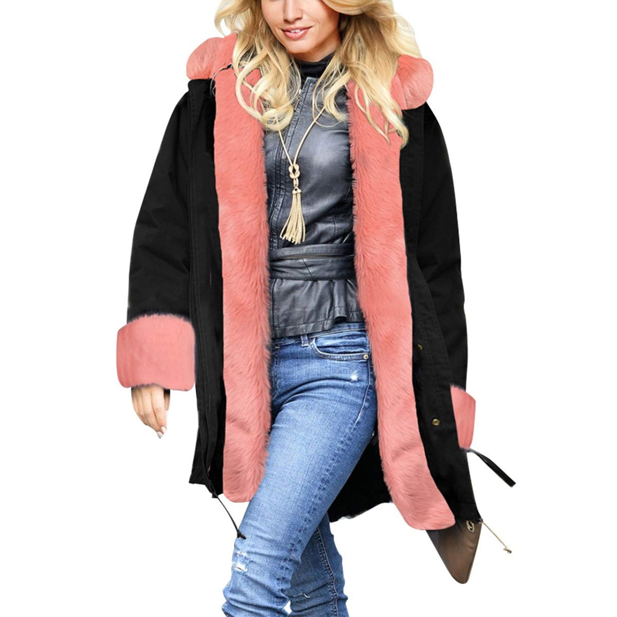 Black Womens Winter Warm Thicken Long Sleeve Faux Fur Collar Hooded Parka Jacket Coat