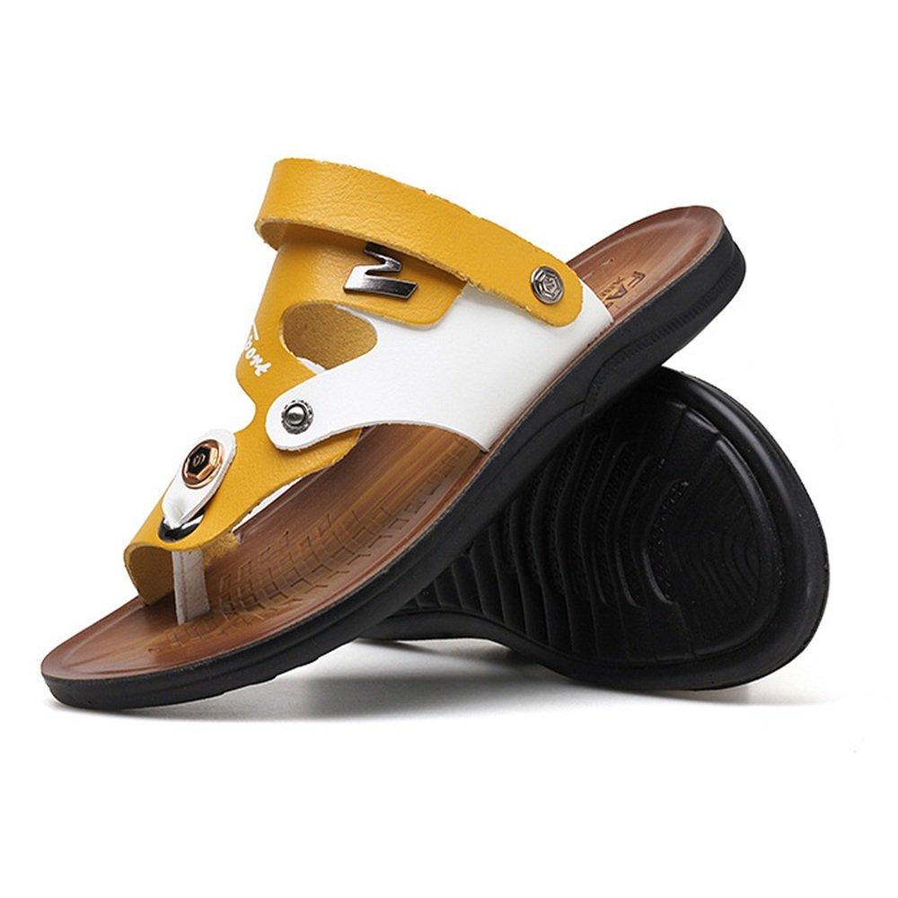 Wagsiyi Hausschuhe Sommer Herren Sandalen Hausschuhe Komfortable Dual-Use-Strand Sandalen und Hausschuhe Sandalen Strandschuhe (Farbe : Gelb, Größe : 38 2/3 EU) Gelb e4eaa2
