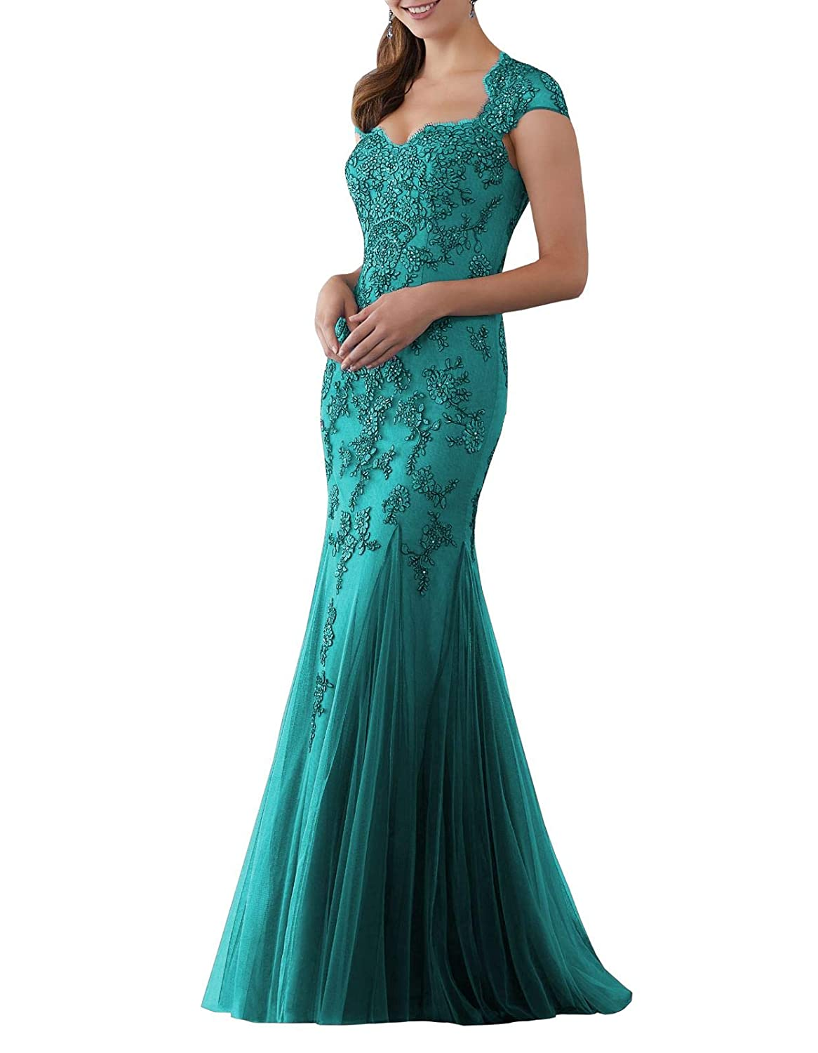 Green Aishanglina Caps Shoulder Embroidered Appliques Beaded Evening Gown Floor Length Party Tulle Dress