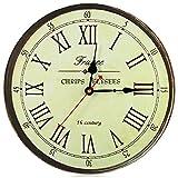 Robolife Silent Antique Wooden Round Clock Wall Rustic Vintage Roman Numerals Design(Golden)