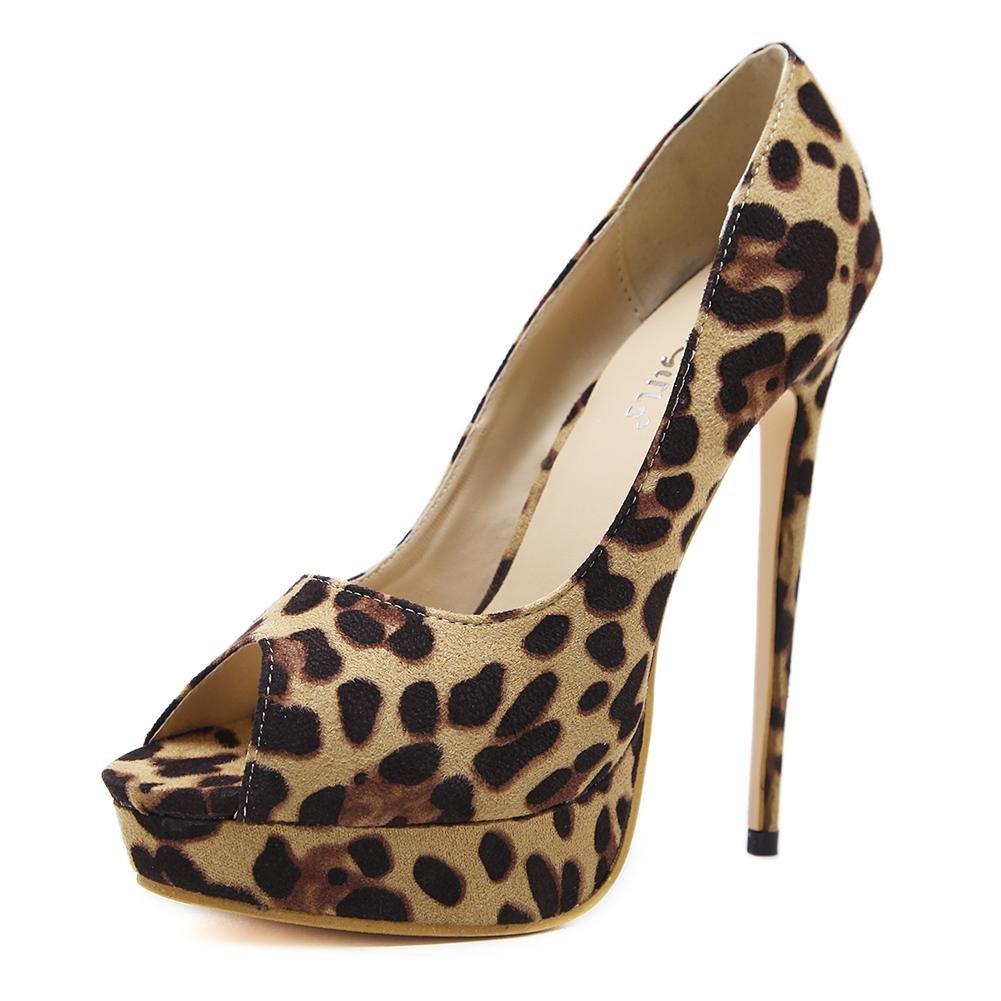 Damen Sexy Sandalen Stilett Hoch Hacke Schuhe Plattform Wildleder Leopard Arbeit Party Kleid Nachtclub