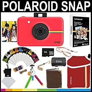 Polaroid Snap Instant Camera (Red) + 2x3 Zink Paper (30 Pack) + Neoprene Pouch + Photo Frames + Photo Album + 8GB Memory Card + Accessory Bundle
