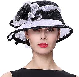 35b1fcf3 Koola's hats Church Hats Sinamay Wedding Hats Black White Sun Derby Women  Hats