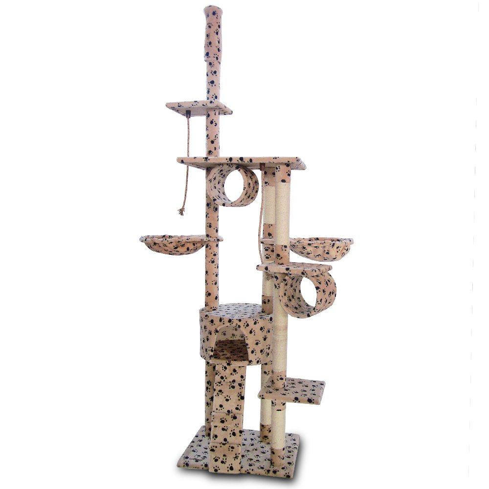 Beige avec motif pattes Leopet Giant Cat Play Tree Adjustable Height from 2.30 2.50 m Various Colours to Choose From