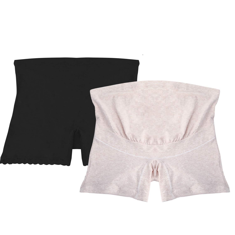 98cf2aadcf86 UTOVME 2 Packs Women Maternity Underwear High Waist Over Bump Panty Brief,  Black+Beige, L