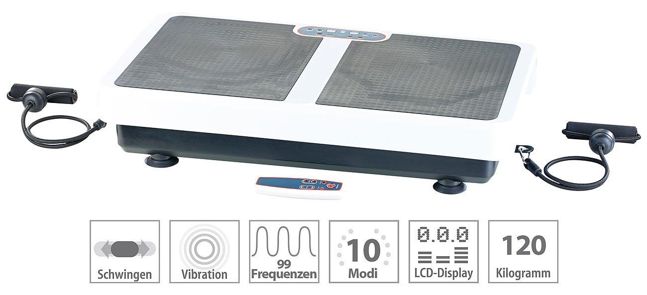 PEARL Rüttelplatte: Extrabreite Vibrationsplatte WBV-199.OE mit Expandern, 200 Watt (Vibration Plate)