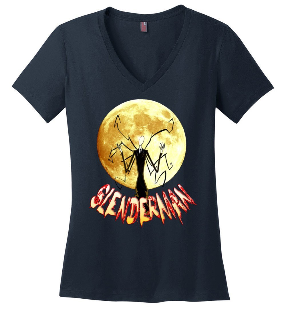 Slenderman And The Moon Vneck Shirts