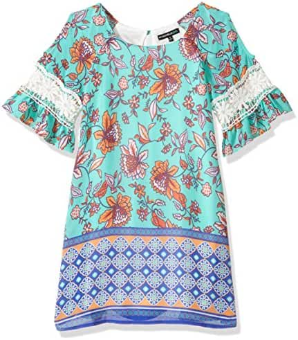 My Michelle Big Girls' Multi Print Shift Dress with Crochet
