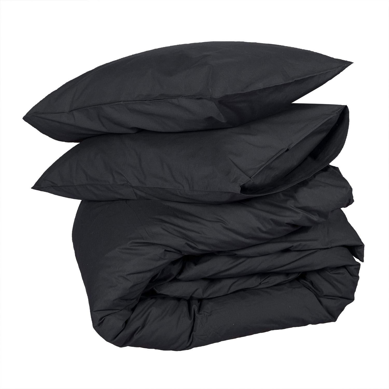 Homescapes 3 TLG Bettwäsche 240x220 cm schwarz 100% ägyptische Baumwolle Fadendichte 200